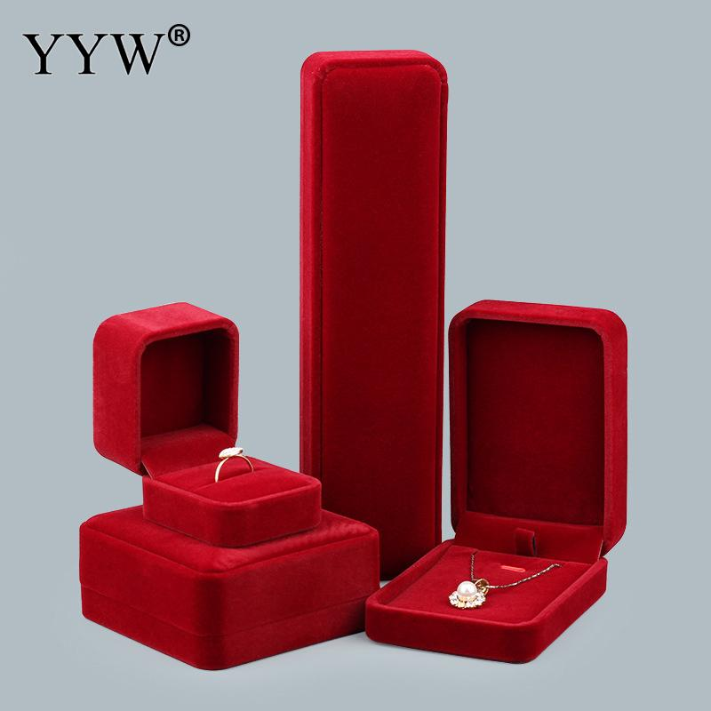 Red Color Velvet Jewelry Necklace Set Box Packing Bag Necklace Bracelet Ring Velveteen Box Jewelry Gifts Box Sold By PC