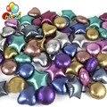 Новинка 10 шт. 18 дюймов хромированные металлические круглые гелиевые фольгированные воздушные шары в форме сердца звезды детские товары для...