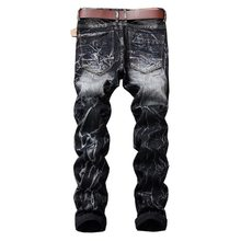 2019 New Men's Retro Nostalgia Straight Jeans Personality male patch jeans Man Plus Size 28-42 Casual Long demin Pants Trousers(China)