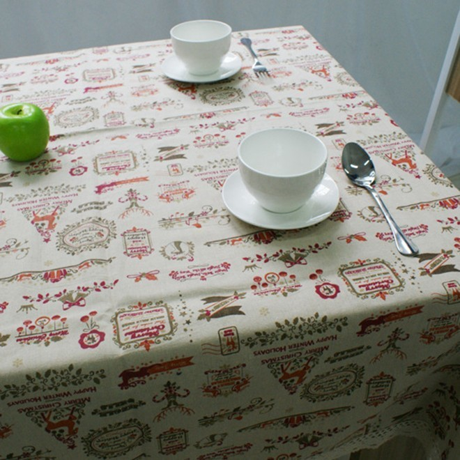 Image 5 - Nordic Christmas Table Cloth Cotton Linen Lace Edging Happy Holiday Kitchen Dining Table Cover Xmas Table Decor New Year Party-in Tablecloths from Home & Garden