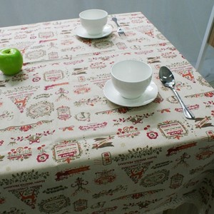 Image 5 - Nordic Christmas Table Cloth Cotton Linen Lace Edging Happy Holiday Kitchen Dining Table Cover Xmas Table Decor New Year Party