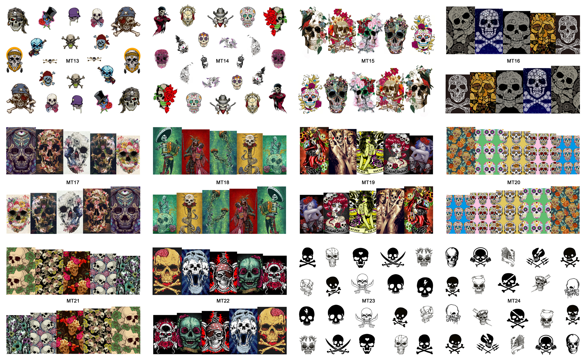 New 12 Sheets Lot Nail Mt13 24 Mix Skull Fashion Art Water Transfer Decal Sticker For Tattoo Designs In 1 Stickers Decals From
