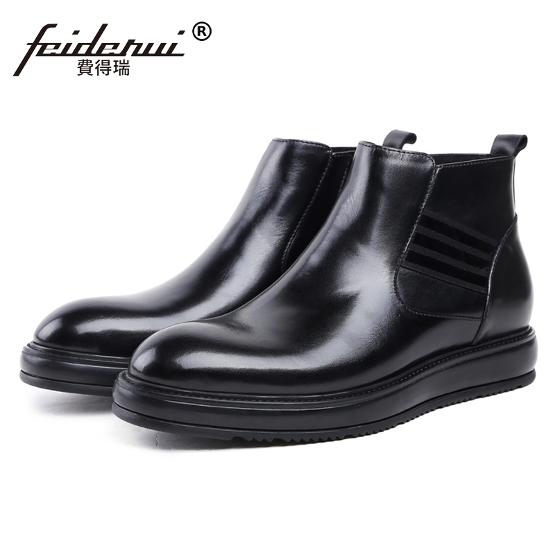 Fashion Round Toe Flat Platform Man High-Top Riding Shoes British Style Genuine Leather Mens Cowboy Ankle Boots For Male JS38Fashion Round Toe Flat Platform Man High-Top Riding Shoes British Style Genuine Leather Mens Cowboy Ankle Boots For Male JS38