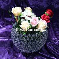 Octagonal 25cm crystal beads ball Candlestick wedding party table decoration shiny silver finish wedding candle holder