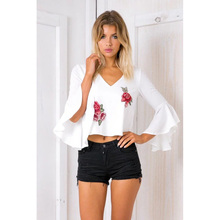 blouse women tops Bohemian Embroidery Floral Three Quarter Flare Sleeve chiffon summer white womens top  blouses