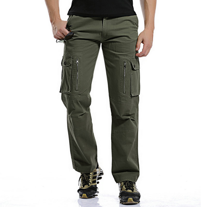 2017 new autumn men cargo pants cotton material muti pockets loose style camo combat overalls 28-40 CYG252
