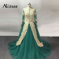 Traditional Turquoise Arabic Wedding Dress with Hijab Dubai Abaya Caftan Green Long Sleeve Appliques Muslim Wedding Gown