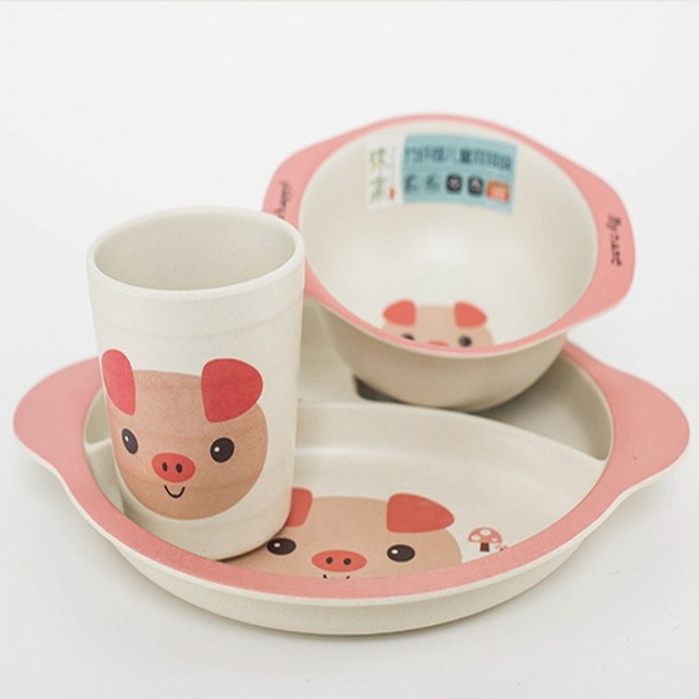 Ayc Bamboo Baby Dishes Pink Pig Children S Cutlery Set Green Fiber Plate Bowl Cup Plates Sets 5pc