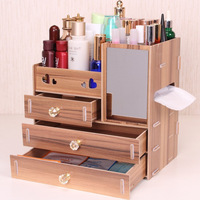 Storage box large size Wood cosmetics drawer organizer with mirror multifunction storage box organizador de gaveta