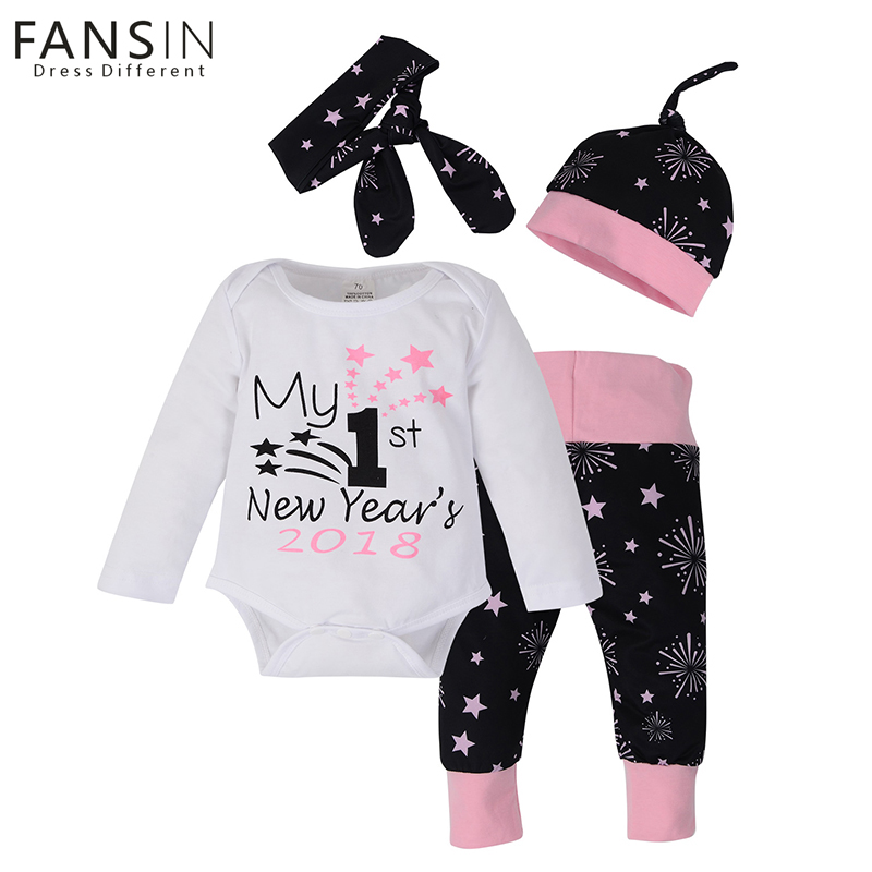 FANSIN Brand My First New Years Print Baby Boy Girl Top Romper Clothes Sets Christmas Party Clothing Wear Long Pant Hat+Headband my christmas cd