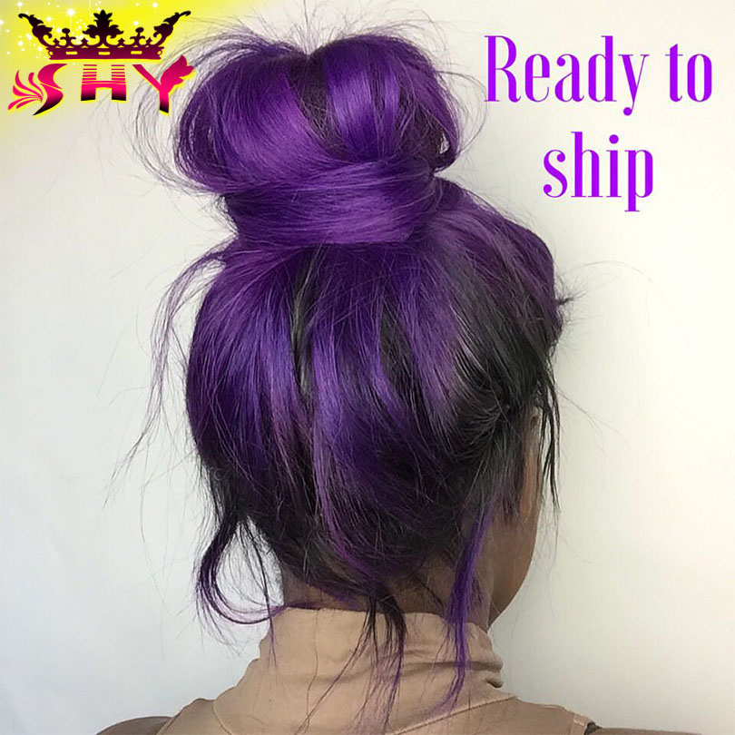 Fashion Body Wave Ombre Purple Lace Front Wig Brazilian Hair Glueless Full Wigs Human Free Shipping In From