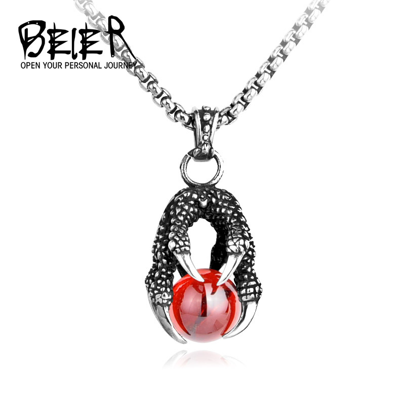 BEIER drop shipping One Piece Man's Super Cool Black/Red Stone Big CZ Eagle Claw Necklace Pendant For Man Woman BP8-129 eagle claw alloy feather necklace