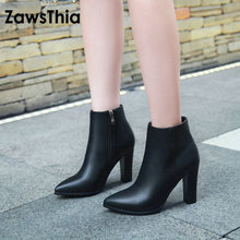ZawsThia fashionable plain color block high heels woman shoes booties winter ankle boots pointed toe women boots big size 33-43