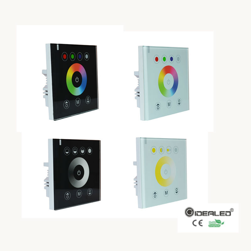 RGB/RGBW Wall mounted touch panel controller glass panel dimmer switch Controller for DC12V-24V LED Strip RGB Controller