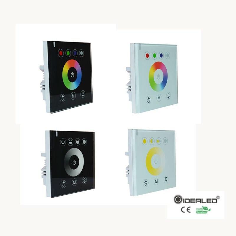 RGB/RGBW Mur monté contrôleur de l'écran tactile en verre panneau gradateur Contrôleur pour DC12V-24V LED Bande RGB Contrôleur