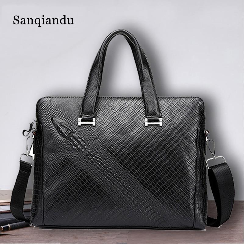 Genuine Leather Bag Male Briefcase Crocodile Pattern Briefcase Shoulder Bag Men Messenger Bags Designer Hand Bag High Quality