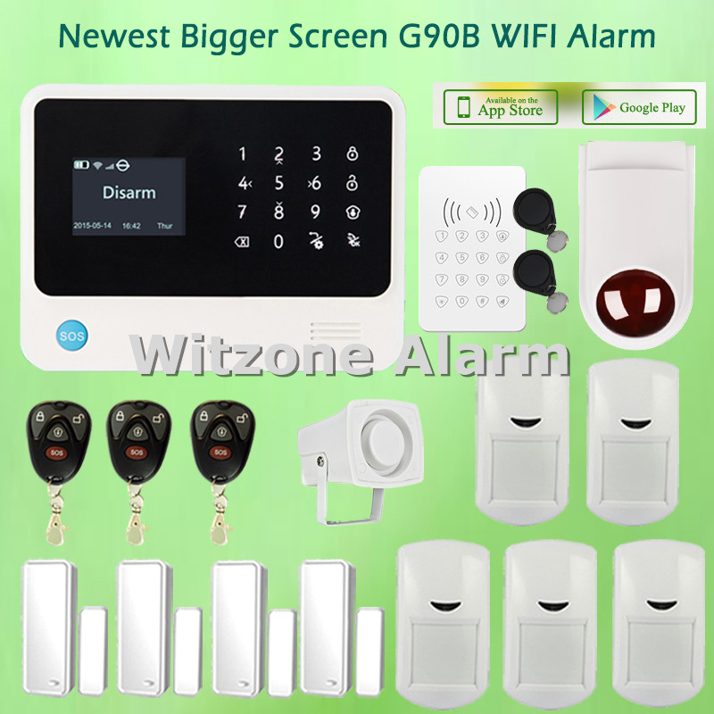 Two way intercom smart home wifi gsm alarm system android iphone app control G90B with RFID touch keypad and external sirene 2016 rain proof gsm taxi freephone gsm help point handsfree intercom