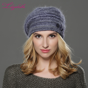Image 5 - LILIYABAIHE  NEW winter Women beret hat knitted wool angora beret  patchwork stylish Trendy  decoration cap Double warm hat