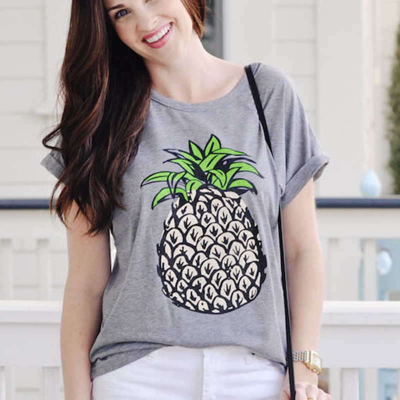 c1ec371c337 2018 Summer Women Korean style Fruit Print Pineapple Female T shirt O neck  Casual Short Sleeve Female Top Tee Plus Size Clothing-in T-Shirts from  Women s ...