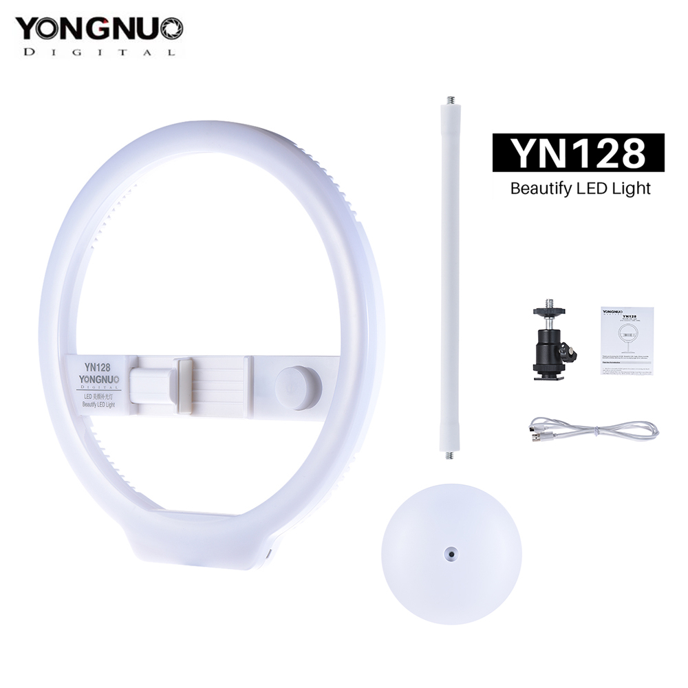 YONGNUO YN128 Mobile Phone LED Fill Light Beauty Lamp 3200K 5500K Adjustable Color Temperature Ring Light