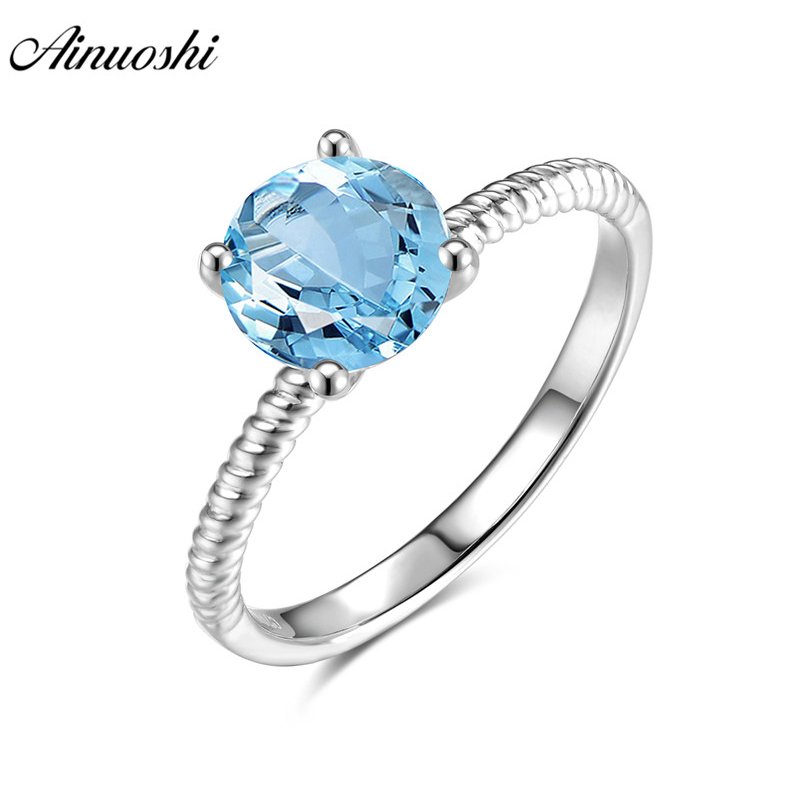 AINUOSHI Natural Blue Topaz Ring Engagement Wedding Ring 1.25ct Gem Round Cut Solitaire Ring Pure 925 Silver Rope Ring Jewelry ледянка 1toy cut the rope cut the rope