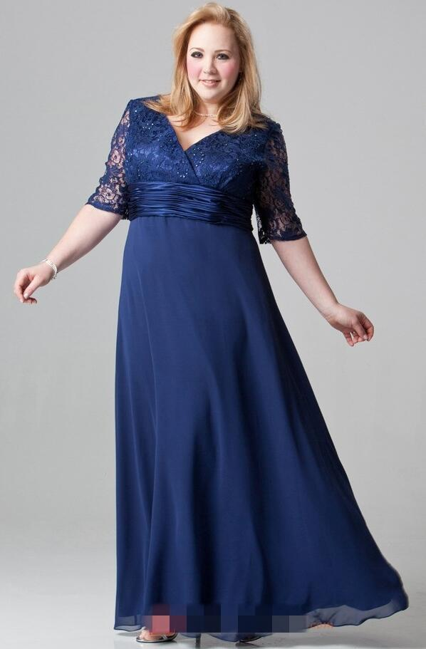 Cecelle Plus Size Navy Blue Long Mother Of The Bride Dresses Half ...