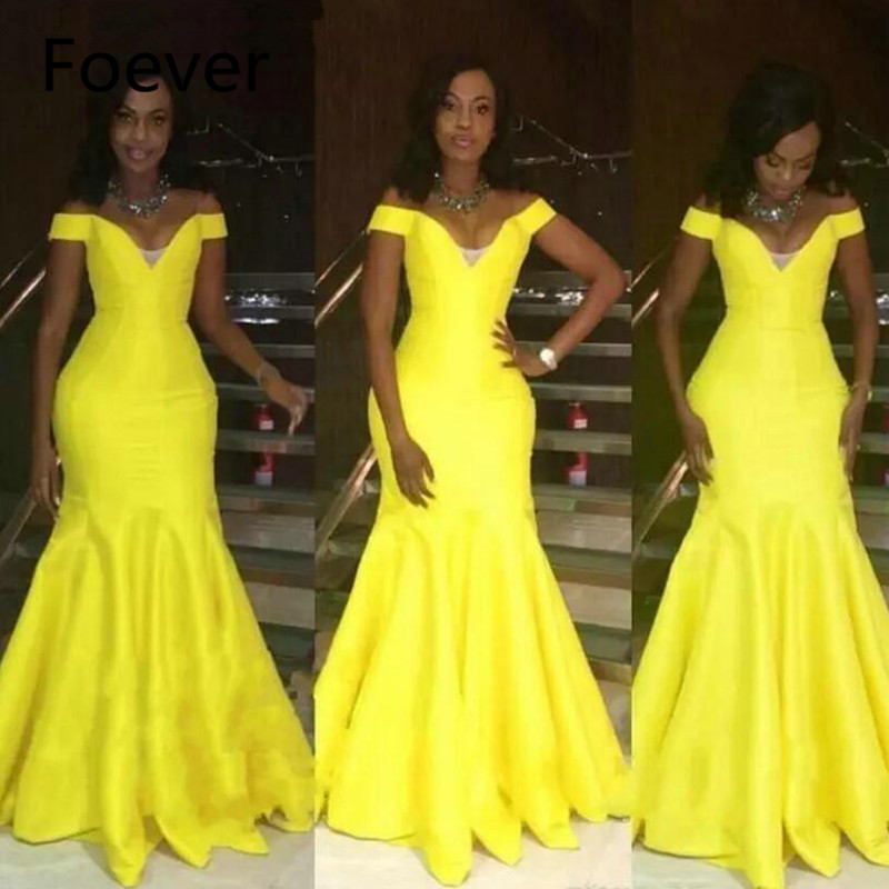 2019 Vintage Bright Yellow Off Shoulders Evening Dresses Long Sexy African Women Party Gowns