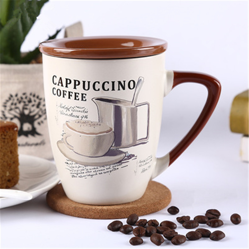 Cups and mugs hot sales 1PC 420ML European simple large ceramic cup milk coffee water mug mugs with lid nice gift