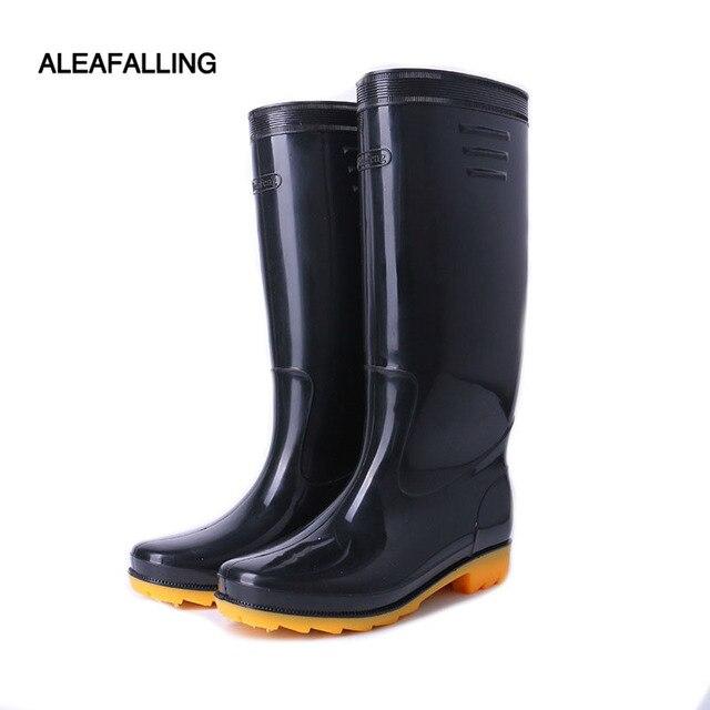 US $20.79 20% OFF|Aleafalling Neue Verdicken wasserdichte regen stiefel winter schuhe männer regen jungen wasser gummi mid kalb stiefel slip auf botas