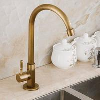 360 Degree Antique Brass Swivel Faucet Single Cold Kitchen Faucet Kitchen Sink Mixer Tap With Plumbing