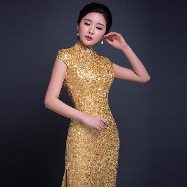 elegant sexy long gold cheongsam dresses with split formal corset sparkly  stand collar zip slim 2017 86eb6d6d7ceb