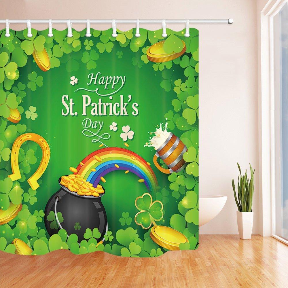 Saint Patricks Day Decor Gold Coin with Rainbow Clover Leaf Mildew Shower Curtain Set Flannel Non-Slip Floor Doormat Bath Rugs