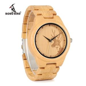Image 3 - BOBO BIRD WD28 Full Bamboo Wooden Watch for Men Hot Elk Deer Head Story Designer Brand Quartz Wrist Watches in Gift Box