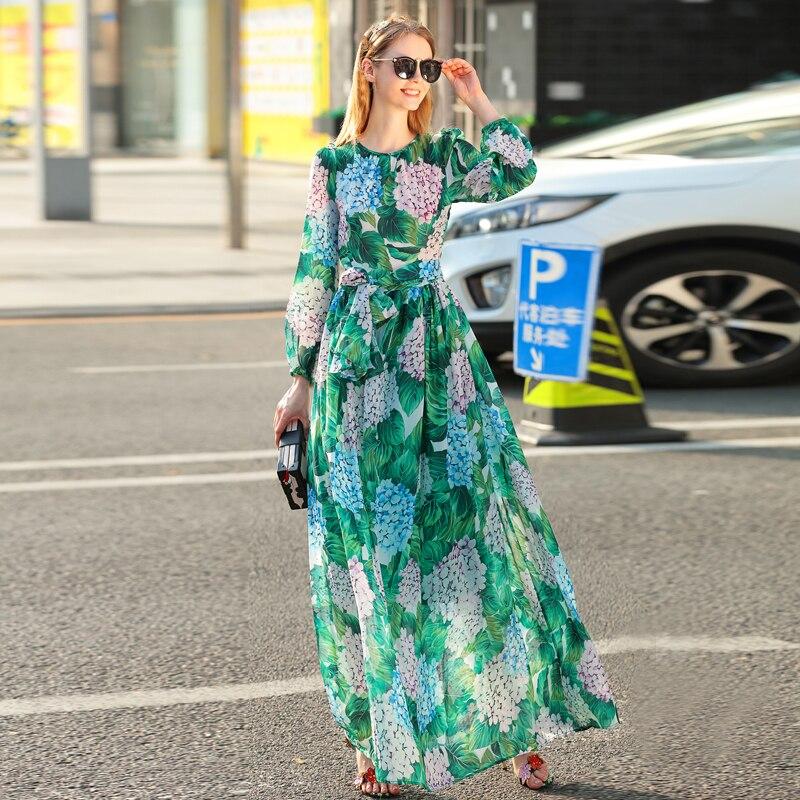 High quality new spring/summer 2018 women runway maxi dress flowers green leaves printing Beach Casual long dress