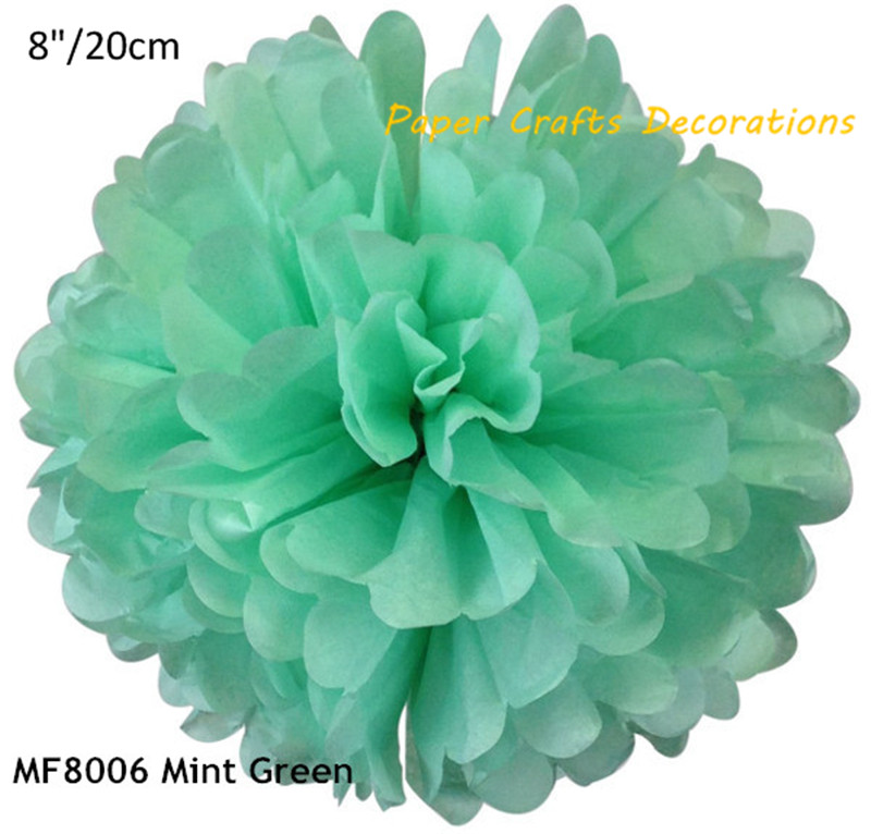 8inch=20cm 5pcs/lot Mint Green DIY Tissue Paper Pom Poms Rose Flowers Ball For Wedding Holiday Birthday Party Decorations