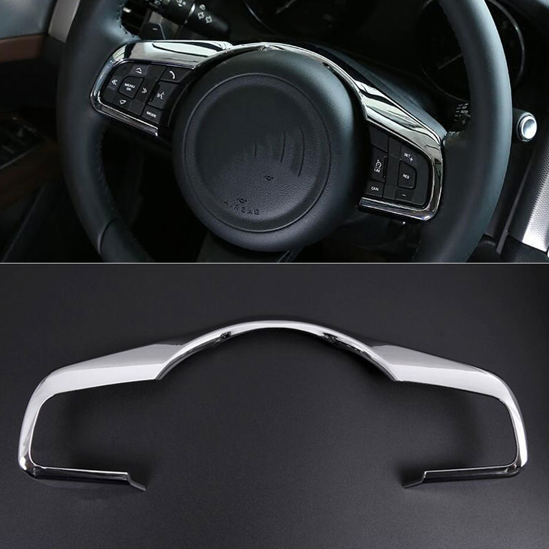 Car Styling Steering Wheel Decorative Frame Trim ABS Chrome Accessories For Jaguar XE XF F-Pace f pace2016 2017 2015 hyundai tucson abs electroplating taillight frame decorative trim trim car styling