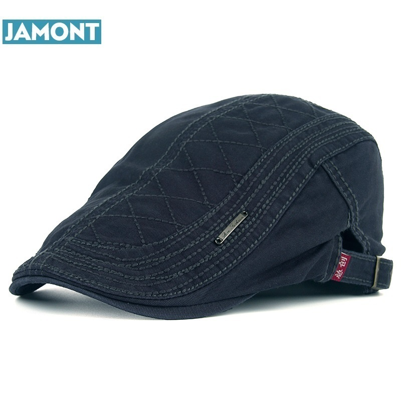 JAMONT Berets-Caps Hats Embroidery Autumn Cotton New Casual Men for Grid