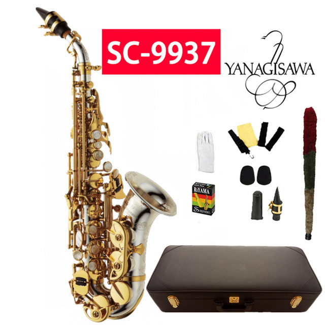 US $275 5 5% OFF|YANAGISAWA Curved Soprano Saxophone SC 9937 B Silvering  Golden key Brass Soprano Sax Professional musical instrument With case-in