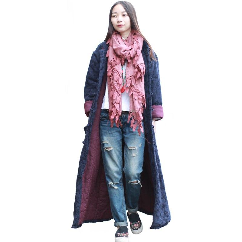 Lzjn тонкие стеганые Trenchcoat Для женщин зимняя куртка этнической одежды жаккардовые пальто Подпушка пальто манто Femme Hiver кабан 1499