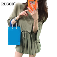 RUGOD New Slim Women Solid Suits 2018 Fashion Woman Sexy Skirt Sets 2 Pieces Sets Long Sleeve With Mini Pants Tether Skirts