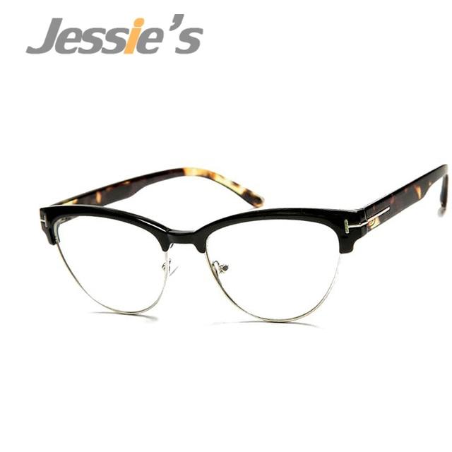 vintage eyewear women brand designer cat eye nerd glasses fashion eyeglasses frames classic half frame elegant