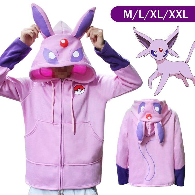 Pokemon Cartoon HoodiesPokemon Day Ibero and Fairy Ibera Velvet Thickening Sweater Jacket Pink Purple Totoro Cosplay
