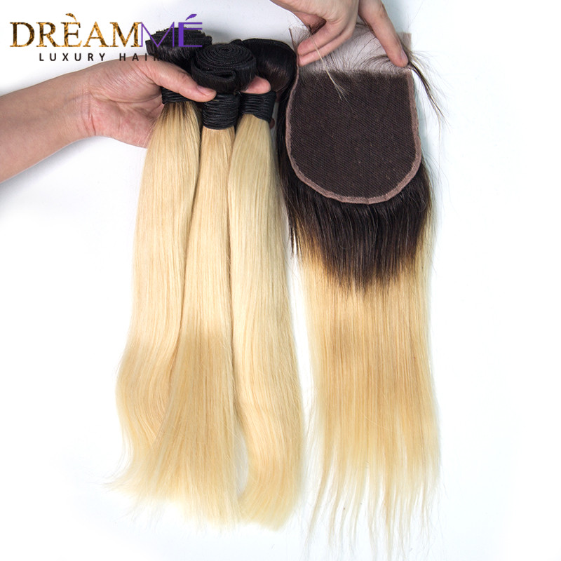 Brazilian Straight Hair 1B 613 Ombre Blonde Bundles with Closure Remy Human Hair Bundles Weave with