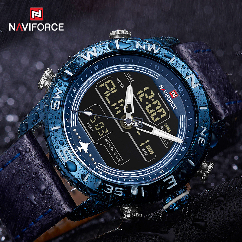 NAVIFORCE 9144 Fashion Men Blue Leather Sport Watches Mens LED Analog Digital Watch Army Military Quartz Watch Relogio Masculino