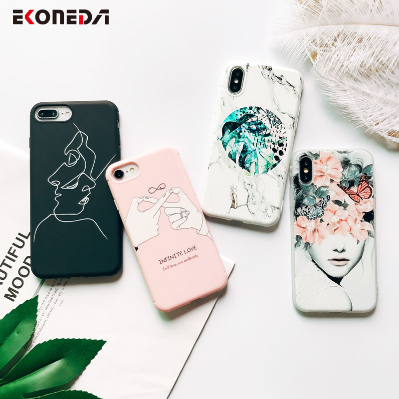 EKONEDA Soft TPU Phone Case For iPhone 6S Case Silicone Black Simple Scrub Back Cover For iPhone 7 6 6S 7Plus XS Max X 8 Case