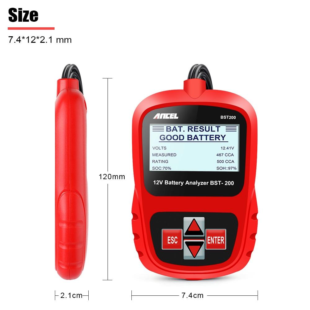 ANCEL Bst200 Voiture testeur de batteries Multi-langue 12 V 1100CCA système de batterie Détecter Automobile De Voiture Mauvais Cellulaire Batterie Outil De Diagnostic - 5