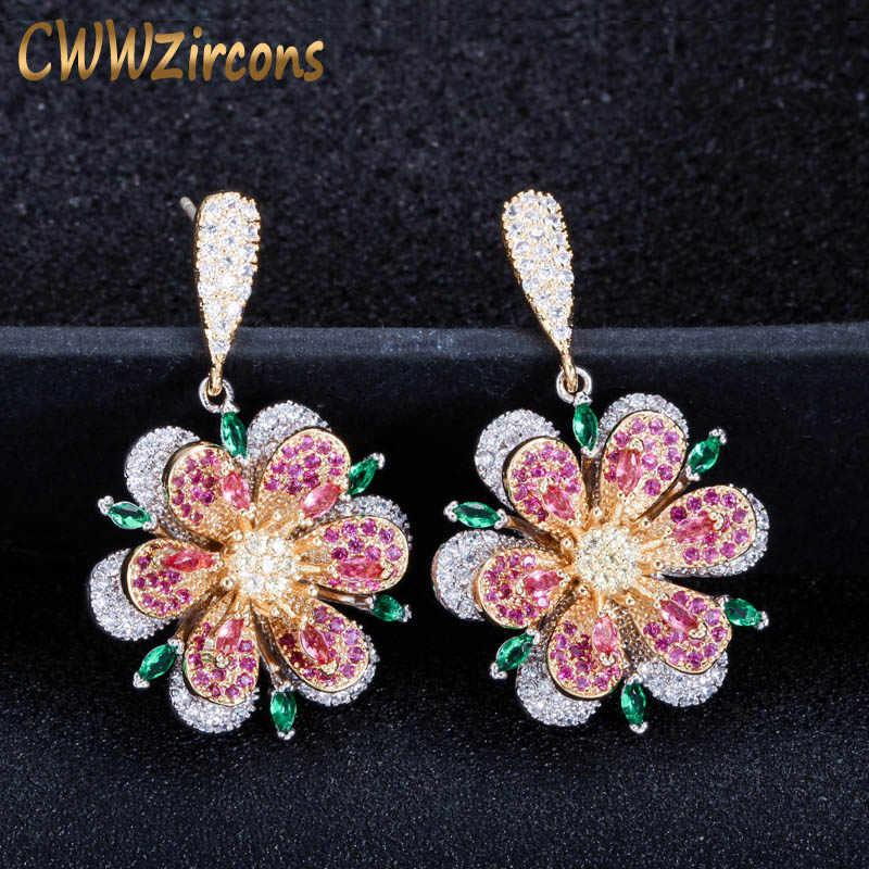 CWWZircons 3D Geometric Design Rose สีแดงและสีเขียวมรกตคริสตัลแบรนด์หรู 925 เงินดอกไม้ Drop ต่างหูสำหรับผู้หญิง CZ445