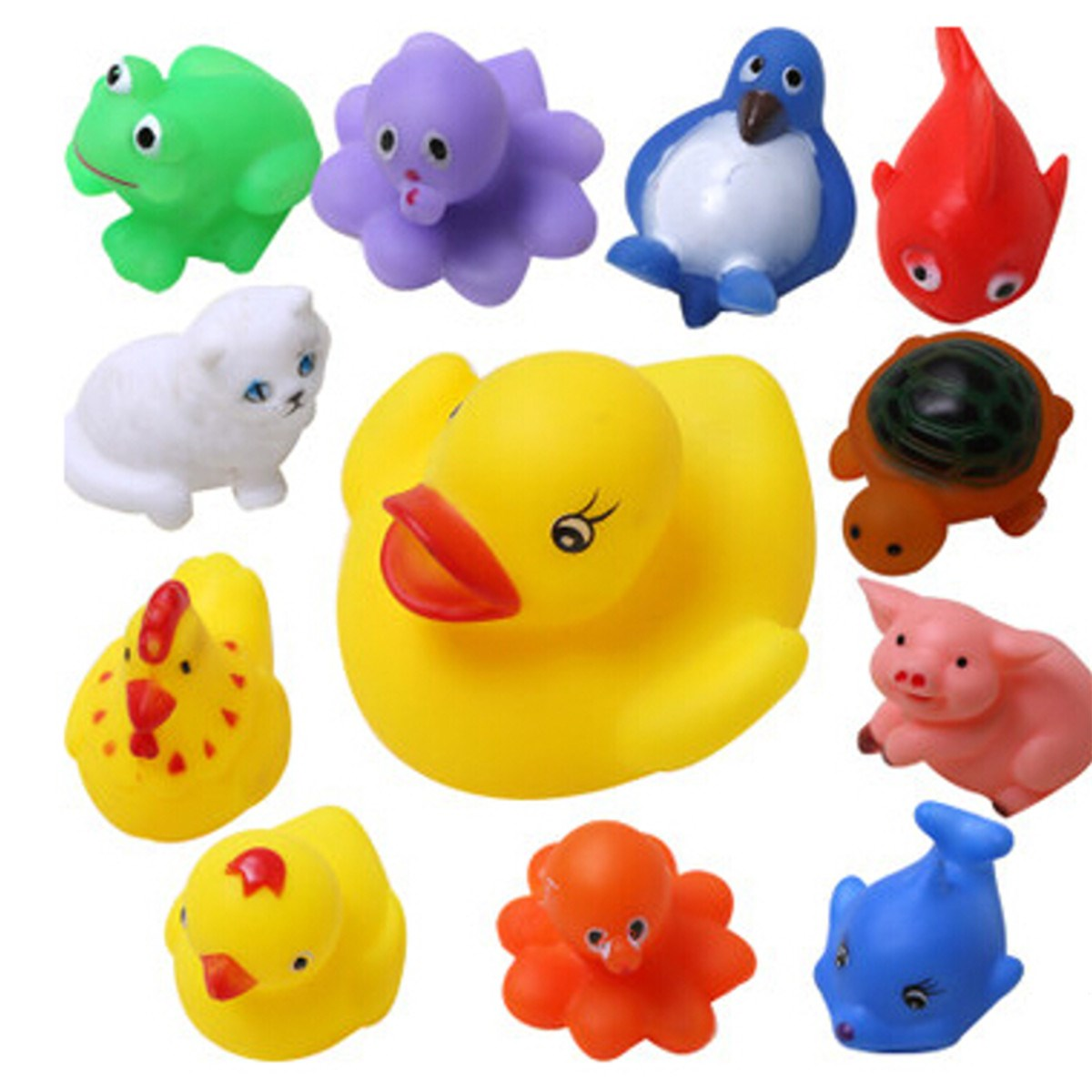 buy 13pcs set mixed animals baby bath toys rubber float squeeze sound squeaky. Black Bedroom Furniture Sets. Home Design Ideas