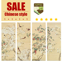 Chinese classical style multi picture combination painting murals classic bird freehand realist flower canvas painting
