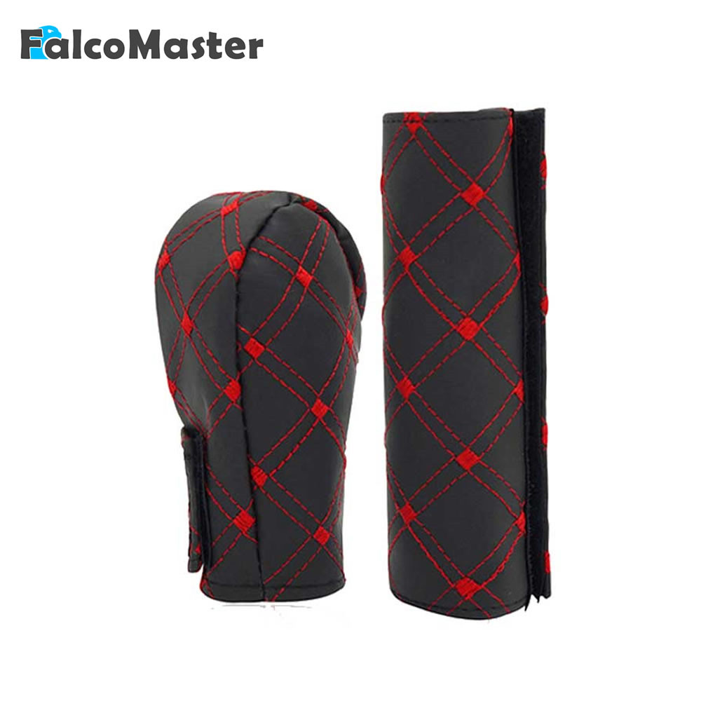 2Pcs/Set Universal PU Leather Auto Car Hand Brake Cover With Gear Shift Stick Cover 2 Colors Accessories Handbrake Grips